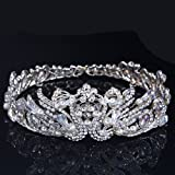 Superhai Rhinestones Pearl Wedding Tiara Crown Pageant Crown Bride Wedding Flower Head Peacocks Crown