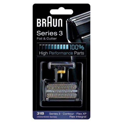 31B BRAUN 5000/6000 Series Contour Flex XP Integral Shaver Foil & Cutter Head Replacement Combi Pack Black - 5610 Replacement
