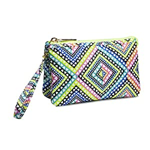 LONDON SOHO NEW YORK Diamond & Feathers Collection Cosmetic Triple Wristlet, Tribal