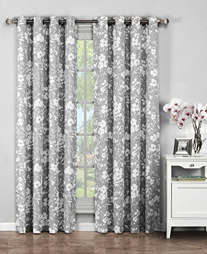 Window Elements Florabotanica Printed Cotton Extra Wide 104 x 96 in. Grommet Curtain Panel Pair, (Window Covering Ideas)
