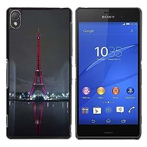 LECELL -- Funda protectora / Cubierta / Piel For Sony Xperia Z3 D6603 / D6633 / D6643 / D6653 / D6616 -- Red Eiffel Tower Tour Paris --