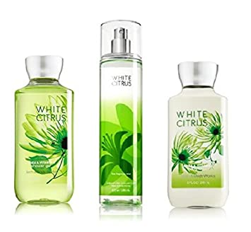 Bath and Body Works – Signature Collection – WHITE CITRUS – Shower Gel – Fine Fragrance Mist Body Lotion Trio