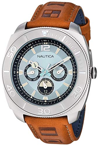 Nautica Men's NAPBHS902 Bal Harbour Brown/Silver Leather Strap Watch