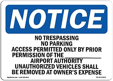 NOTICE NO PARKING SIGN VARIOUS SIZES SIGN /& STICKER OPTIONS