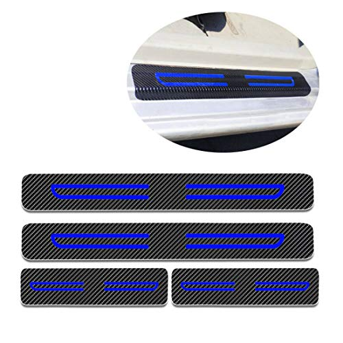 (For Nissan 350Z 370Z Altima Car Door Sill Auto Parts 3D Carbon Fiber Welcome Pedal Protect Protector Sill Guards Anti-kick Scratch Door Entry Guard Threshold Sticker 4pcs Blue)