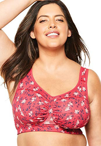 Comfort Choice Women's Plus Size Wireless Ruched Bra - 52 DD, Radiant Pink Floral