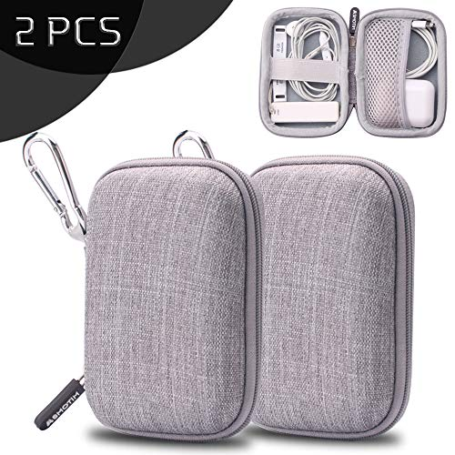 Earbuds Case Storage ASMOTIM EVA Hard Headphone Case Earbud Holder Portable Travel Earphones Carrying Case for Airpods Headset Charger Cable USB Key with Durable Exterior,Soft Cloth Inner [2-Pack]