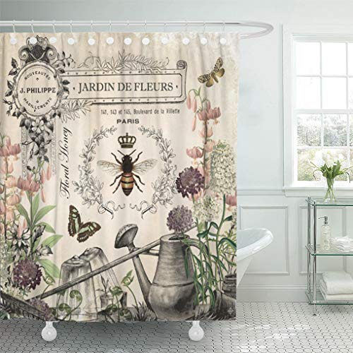 "Semtomn Shower Curtain Modern French Bee Garden Vintage Queen Floral Watering Can 72""x72"" Home Decor Waterproof Bath Bathroom Curtains Set with Hooks from Semtomn"