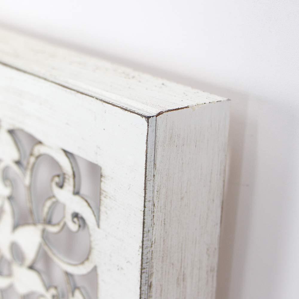 Fabricada artesanalmente en Espa/ña Blanco Envejecido, 30x30 Cuadro Mandala de Pared Calada Modelo Mosaico 121- Mandala 3D Cuadrada Pintada a Mano