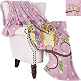 MKOK Owls Luxury Special Grade Blanket Owls Love Valentines on Branch Polkadots Leaves Hearts Romance Multi-Purpose use for Sofas etc. W70 x L70 Inch Pale Pink Apple Green Pale Yellow