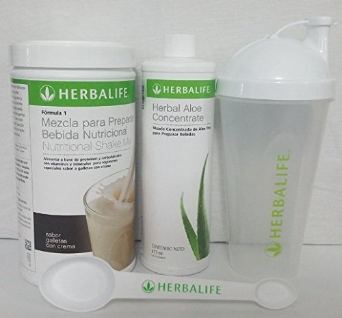 - HERBALIFE HEALTHY MEAL SHAKE MIX COOKIES WITH CREAM 550 Gr + HERBAL ALOE CONCENTRATE FLAVOR ORIGINAL OR MANGO + SHAKER CUP + SPOON