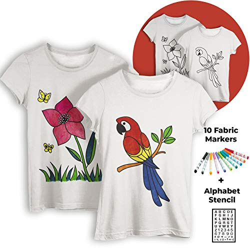 2 DIY TShirts for Coloring and Painting with Fabric Markers/Flower and Parrot