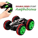 Picture Of Stunt Car SZJJX 2.4Ghz 4WD RC Car Boat 6CH Remote Control Amphibious Off Road Electric Race Double Sided Car Tank Vehicle 360 Degree Spins and Flips Land & Water