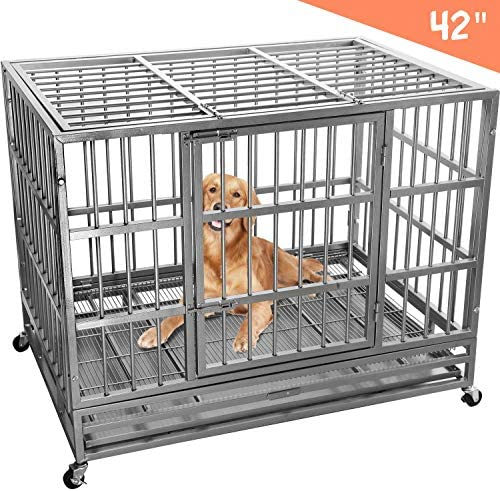 Lemberi Heavy Duty Dog Cage Crate, Pet Kennel Strong Metal for Training Large Dog, Easy to Assemble, with Two Prevent Escape Lock, Lockable Wheels, Removable Tray for Indoor Outdoor