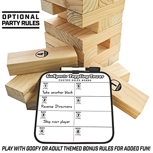 GoSports Giant Wooden Toppling Tower (Stacks to 5+ Feet), Choose Between Natural, Brown Stain or Gray Stain, Includes Bonus Rules with Gameboard, Made from Premium Pine