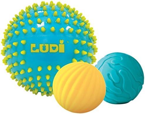 Ludi. Lote de 3 pelotas sensoriales color azul azul: Amazon.es: Bebé