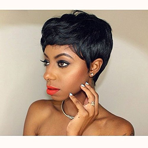 BeiSD Short Black Pixie Cut Hair Natural Synthetic Wigs For Black Women Heat Resistant Black Wig Women's Fashion Wig