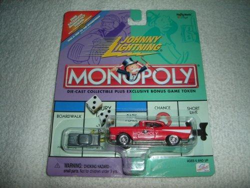 Series Pewter Hood - Johnny Lightning - Monopoly - Illinois Avenue - '57 (1957) Chevy Replica (Red) w/Exclusive Bonus Miniature Metal Game Token