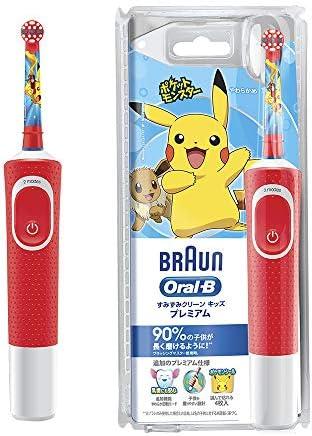 D1004132KPKM Brown Oral B Electric Toothbrush, Children, Sumizumi Clean Kids, Premium [Soft Rotation Mode] Main Unit, Red, Pokemon Toothbrush,