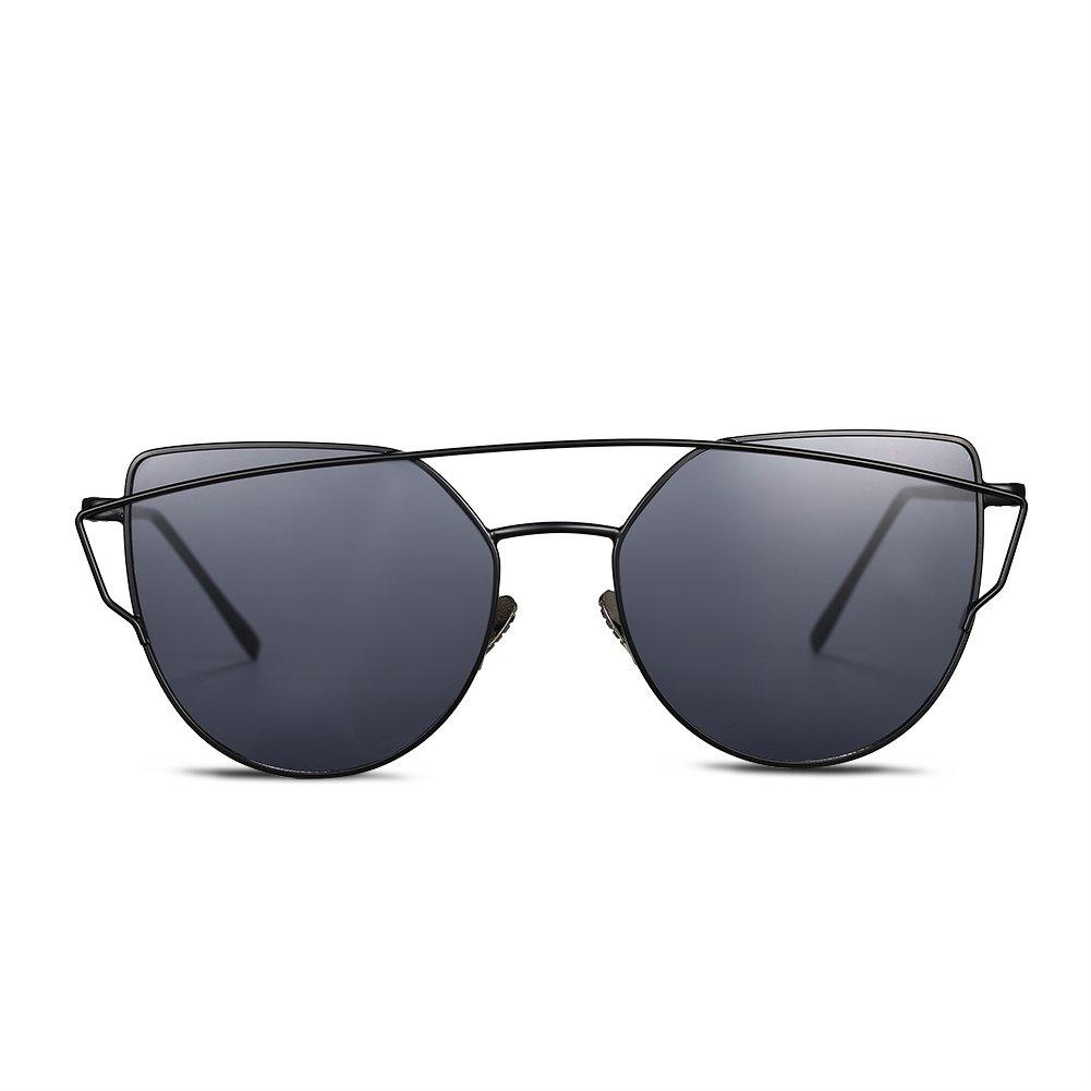 Nykkola - Lunettes de soleil en forme d'œil de chat, classiques, à monture double - Verres miroir colorés - Protection UV400, black frame and red lens