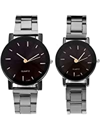 His and Hers Valentines Day Gift Couples Watches All Black/Brown Bracelet Watch Simple Elegant