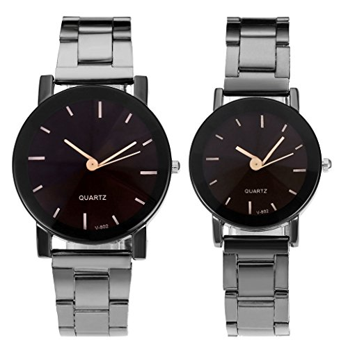 Top Plaza His and Hers Valentine's Day Gift Couples Watches All Black/Brown Bracelet Watch Simple Elegant Design (Metal All Black Set)