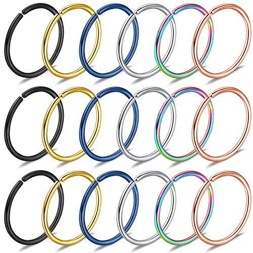 (Yaalozei 18PCS 22G Stainless Steel Clip on Fake Nose Lip Helix Cartilage Tragus Ear Hoop Hook Earring Septum Ring Piercing Jewelry for Men Women 8mm Mix Color)