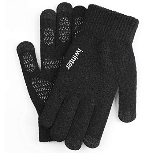 Winter Gloves for Women and Men Touchscreen Gloves Knitted Fabric Windproof, Tyre Pattern Anti-Slip Silicone Gel, Elastic Cuff, Smartphone Gloves