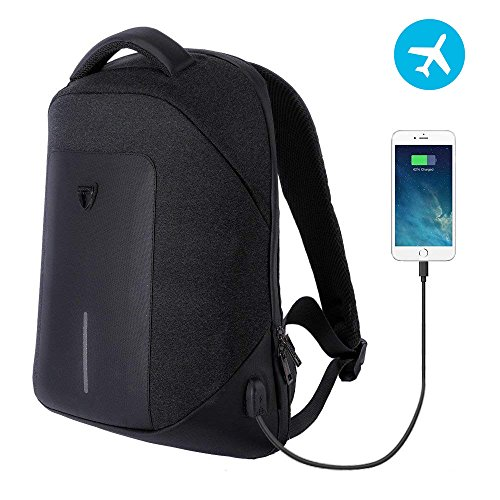 Business Travel Backpack for Men Laptop Backpack Anti Theft with USB Charging Water Resistant College School Computer Bag for Women & Men (black) by Konduone