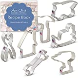 Construction Cookie Cutter Set with Recipe Booklet - 7 piece - Bulldozer, Dump Truck, Drill, Hammer, Wrench, Pliers and House - Ann Clark - USA Made Steel