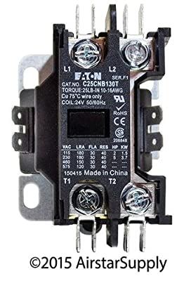 EATON C25CNB130T Definite Purpose Contactor Type C25 1 Pole 30A 24V
