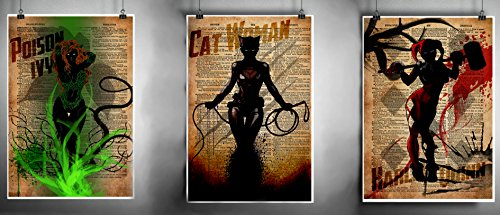 Harley Quinn, Posion Ivy and Cat woman Gotham city sirens art print set,platter art, superhero decor,cool pop art, vintage dictionary art print Art Platter
