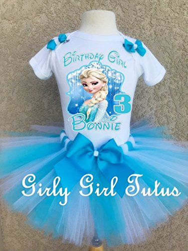 Frozen Elsa and Birthday Tutu Outfit Set by Girli Girl Tutus