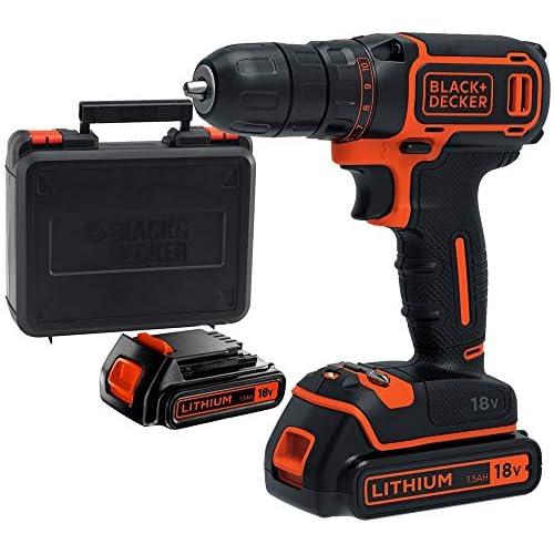 chollos oferta descuentos barato BLACK DECKER BDCDC18KB QW Taladro atornillador 18V con 2 baterías de litio 18V 1 5Ah y maletín
