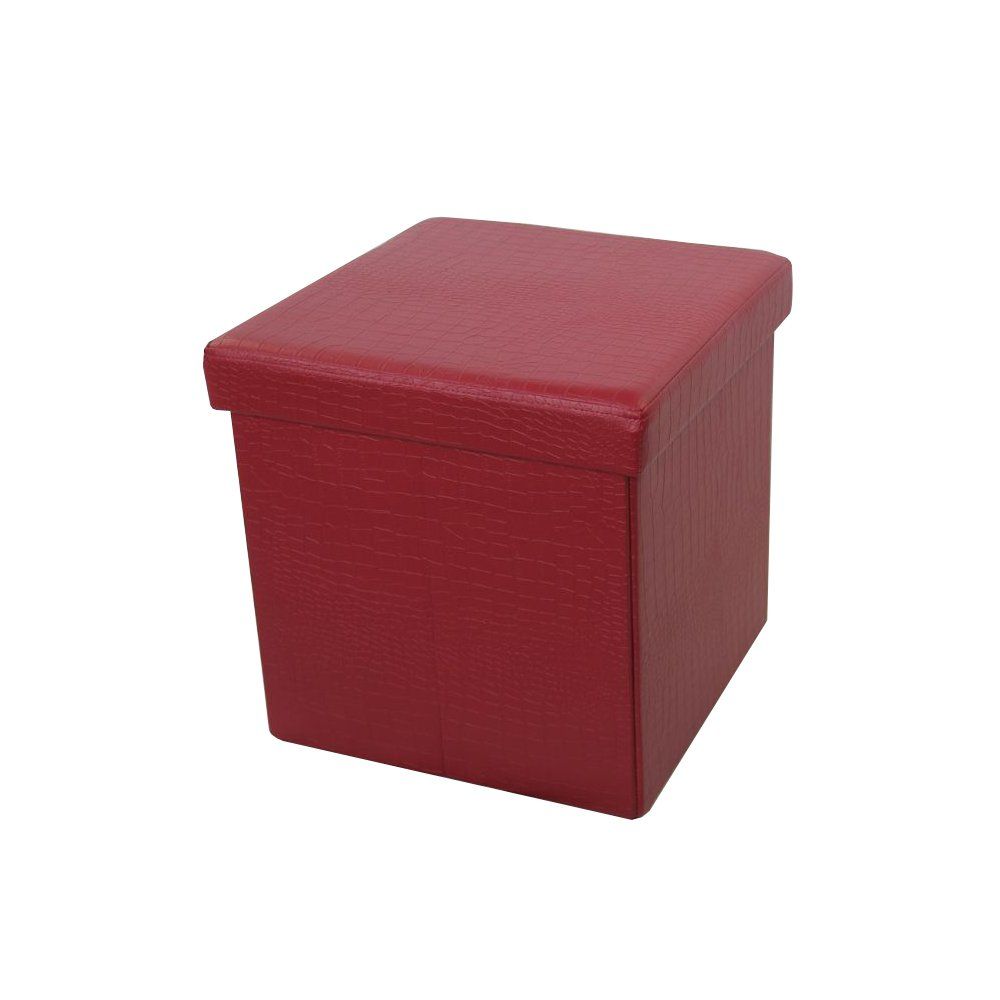 Benzara The Urban Port C206-123046 Antique Wine Red Foldable Storage Ottoman by Urban Port