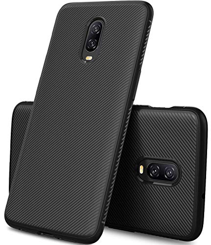 COOLWUFAN OnePlus 6T case, [Scratch Resistant] Premium Flexible Soft Anti Slip TPU Silicone Case Cover Compatible for The OnePlus 6T Smartphone(Black)
