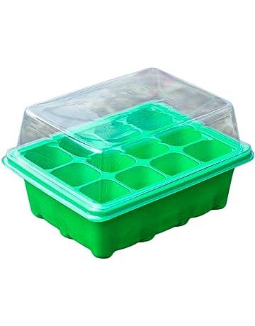 Comtervi Mini Invernadero – Mini Invernadero con 12 Compartimentos, Cubierta Transparente, Placa de Maceta