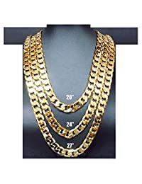 14K Gold Chain Cuban Necklace 11MM Miami Link w/ real solid clasp USA Patented w/ Signed Warranty 24Inch