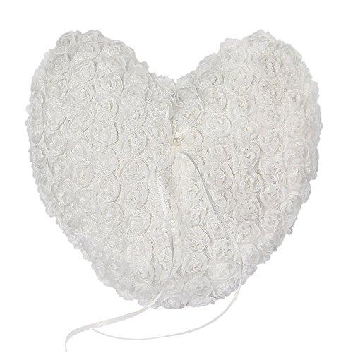 Somnr® Elegant Lace Heart Ring Bearer Pillow for Wedding Party Prom (White) by Somnr