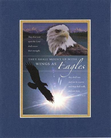They Shall Mount Up With Wings as Eagles . . . 8 x 10 Inches Biblical/Religious Verses set in Double Beveled Matting (Blue On Gold) - A Timeless and Priceless Poetry Keepsake Collection - Eagle Plaque Mount