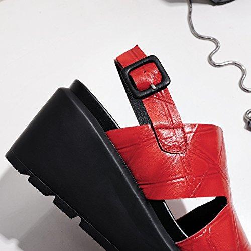 cabeza la gran la sandalias nuevas Rojo LIVY ablandamiento de totalidad cuadrada de de inferior 2017 de tamaño torta qYnwgZ