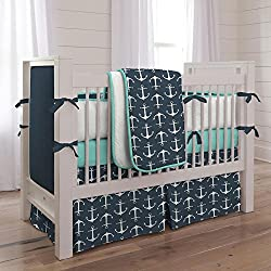 Carousel Designs Navy Anchors Nautical 3-Piece Crib Bedding Set
