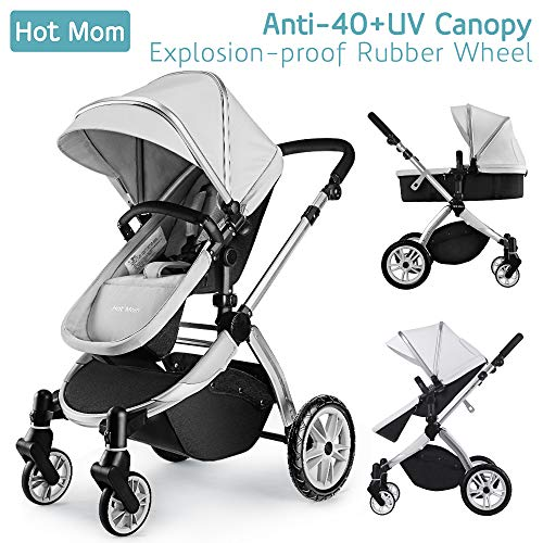 - Infant Toddler Baby Stroller Carriage,Hot Mom Stroller 2 in 1 pram seat with Bassinet,Grey