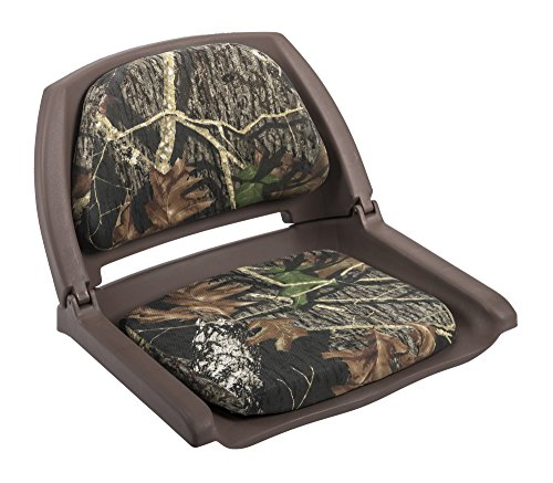 (Wise Folding Boat Seat with Plastic Frame and Cushion Pads (Brown, Mossy Oak Breakup Camo))