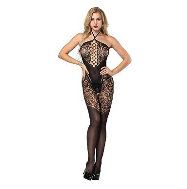 63b78bde19f Wolfleague Lingerie Femme Sexy Erotique Ouvert Grande Taille Pas Cher Noir  Bas BrodéS TêTe De Cou