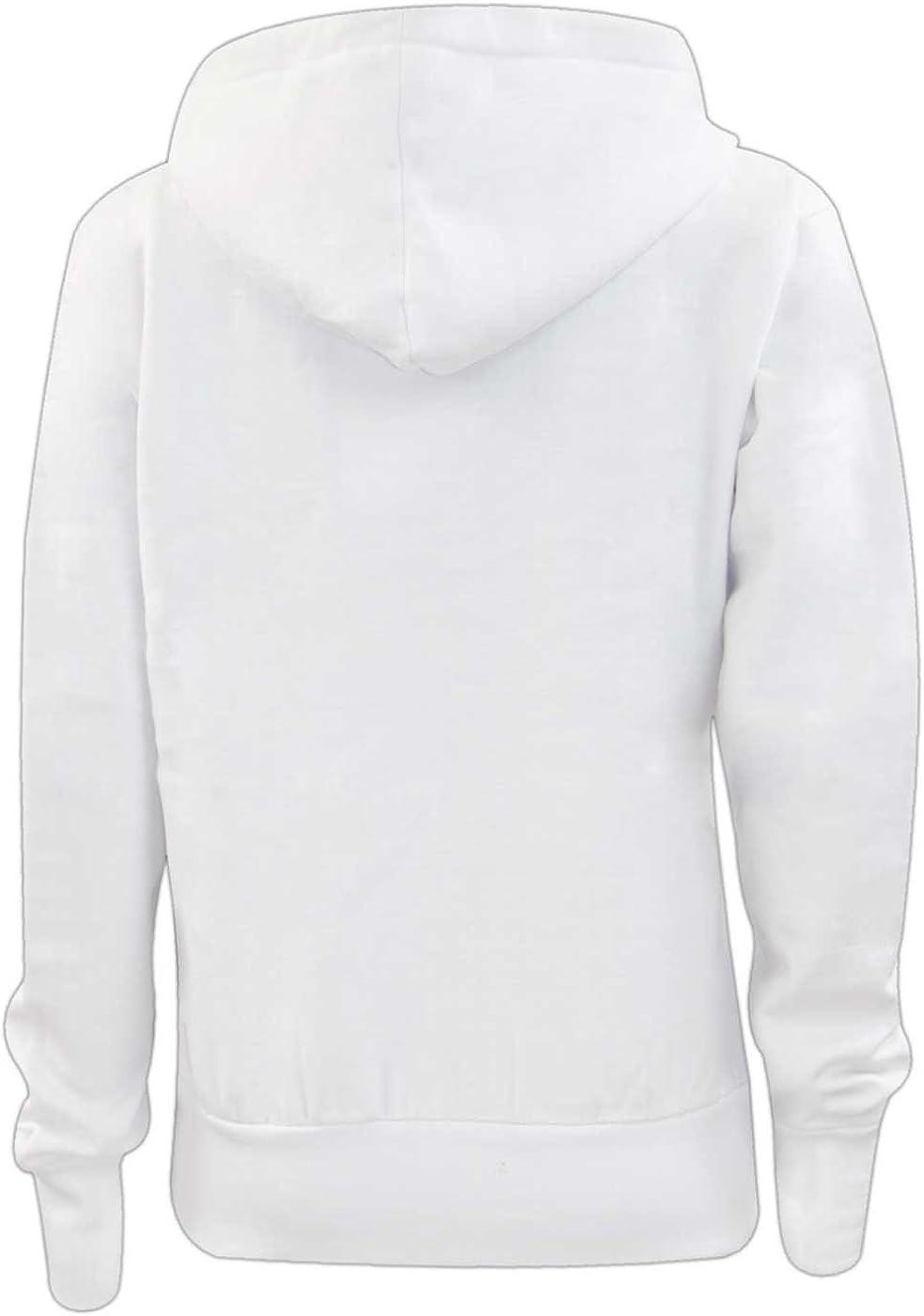 True Face Ladies Hoodie Zip Up Plain Womens Sweatshirt Fleece Full Zipper Hooded Long Sleeve Zipped Top White