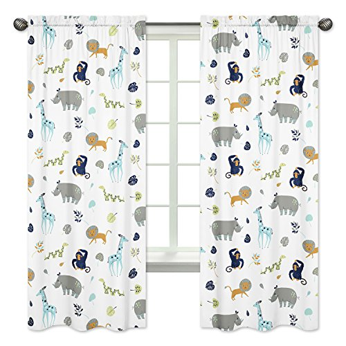 Navy Blue Jungle - Sweet Jojo Designs 2-Piece Turquoise and Navy Blue Safari Animal Window Treatment Panels Curtains for Mod Jungle Collection by