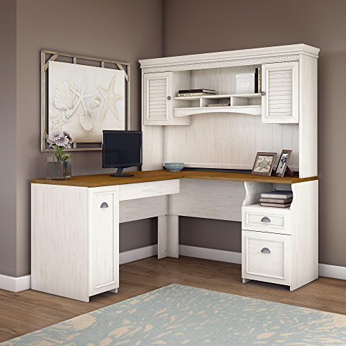 - Bush Furniture Fairview L Shaped Desk with Hutch in Antique White