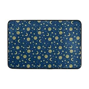 LORVIES Sun Moon And Stars Doormat, Entry Way Indoor Outdoor Door Rug with Non Slip Backing, (23.6 by 15.7-Inch)