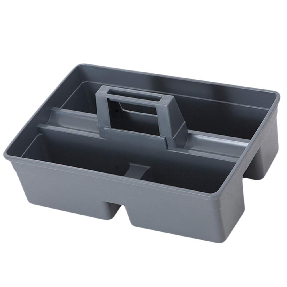 OUNONA Plastic Cleaning Caddy Organiser Kitchen Cleaning Tool Utility Caddy Storage Tote Tray with Handle (Grey)